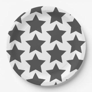 Plato De Papel Diversión, modelo de estrellas gris oscuro grande