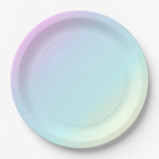 Plato De Papel Diversión y rosa en colores pastel moderno, azul,