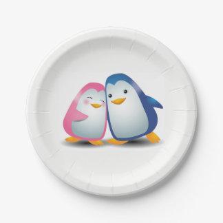 Plato De Papel Dos pingüinos