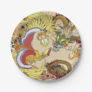 Plato De Papel Dragón y Phoenix chinos