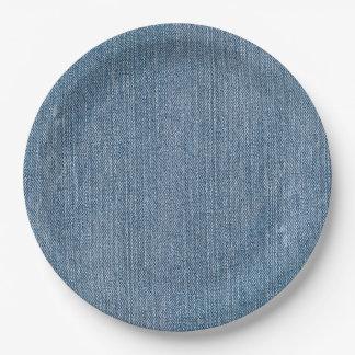 Plato De Papel Dril de algodón azul de Jean de la fuente del