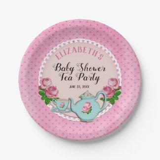 Plato De Papel Ducha inglesa rosada de la fiesta del té del bebé