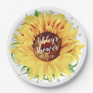 Plato De Papel Ducha nupcial personalizada girasol amarillo