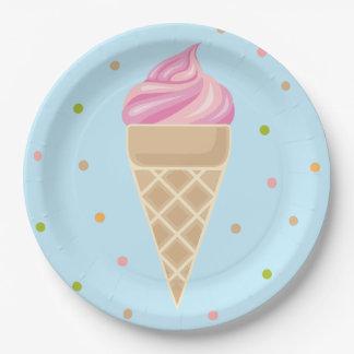 Plato De Papel Ejemplo rosado del helado del vintage