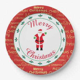 Plato De Papel El agitar de Santa de las Felices Navidad