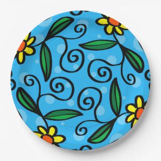 Plato De Papel El arte amarillo del Doodle de la flor diseña las