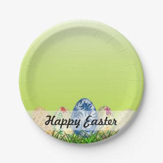 Plato De Papel El bonito modeló los huevos de Pascua en verde de
