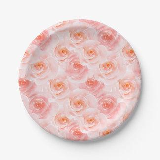 Plato De Papel El bonito se ruboriza los rosas rosados de la