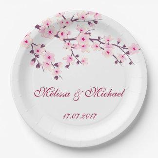Plato De Papel El casarse floral de las flores de cerezo