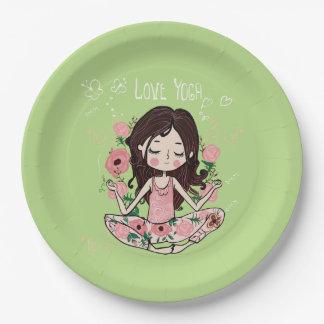 Plato De Papel El chica rosado de los rosas ama yoga