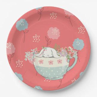 Plato De Papel El conejito anaranjado y azul en una taza de té