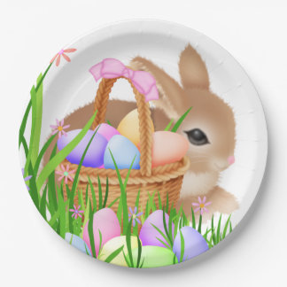 Plato De Papel El conejito y la cesta de pascua van de fiesta la