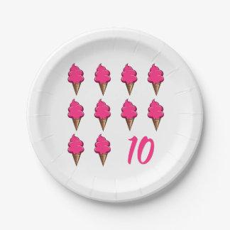 Plato De Papel El cumpleaños año de diez rosado lindo chicas