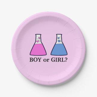 Plato De Papel El género rosado revela el cubilete de la ciencia
