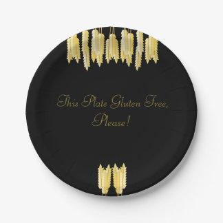 Plato De Papel ¡El gluten elegante del negro y del oro libera,