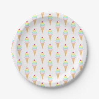 Plato De Papel El helado asperja - las placas de papel