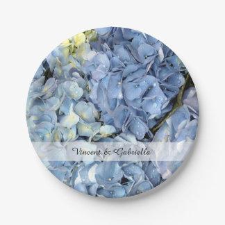 Plato De Papel El Hydrangea azul florece el boda