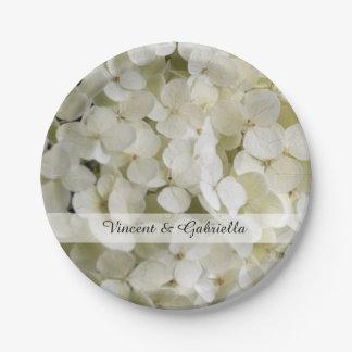 Plato De Papel El Hydrangea blanco florece el boda