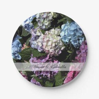 Plato De Papel El Hydrangea colorido florece el boda