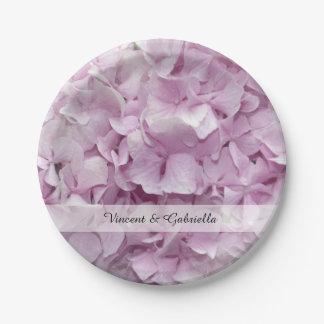 Plato De Papel El Hydrangea rosado suave florece el boda