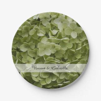 Plato De Papel El Hydrangea verde de Annabelle florece el boda