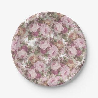 Plato De Papel El vintage se ruboriza pintura floral de los rosas