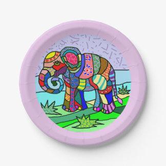 Plato De Papel Elefante hermoso colorido vibrante del arte