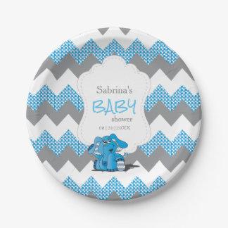 Plato De Papel Elefante lindo tonto azul divertido del bebé de
