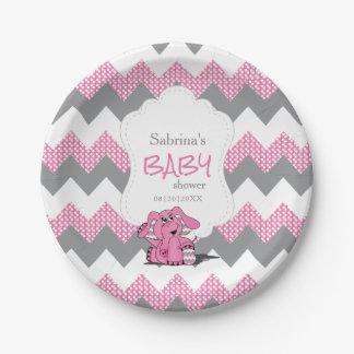 Plato De Papel Elefante lindo tonto rosado divertido del bebé de
