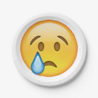 Plato De Papel Emoji - llorando