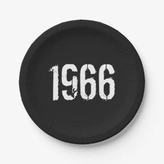 Plato De Papel En 1966 año llevado del cumpleaños