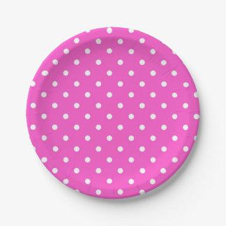 Plato De Papel Encanto moderno del lunar rosado y blanco