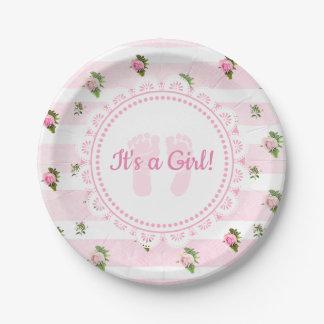 Plato De Papel Es placas de encaje del rosa del chica y blancas