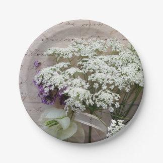 Plato De Papel Escritura del vintage con las flores blancas