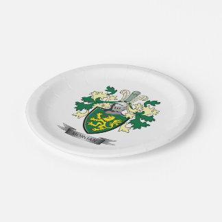 Plato De Papel Escudo de armas del escudo de la familia de Morgan