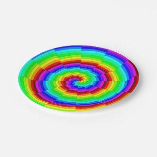 Plato De Papel Espiral del arco iris