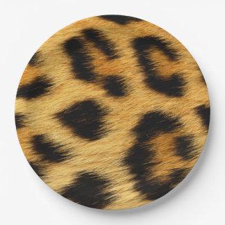 Plato De Papel Estampado de animales de la piel del leopardo