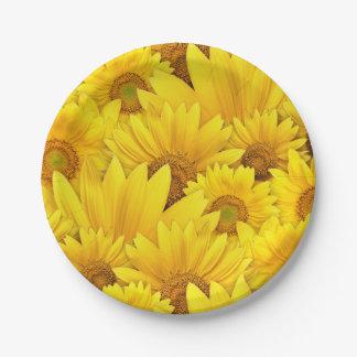 Plato De Papel Estampado de flores amarillo brillante de la