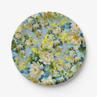 Plato De Papel Estampado de flores amarillo y azul del vintage