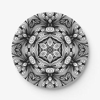 Plato De Papel Estampado de flores clásico complejo blanco y