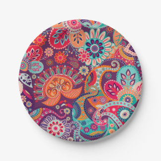 Plato De Papel Estampado de flores de neón rosado de Paisley