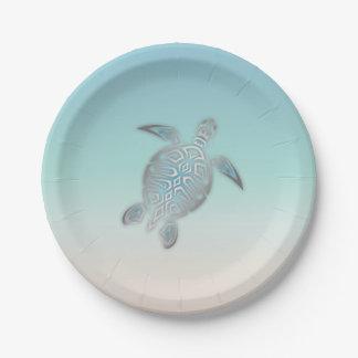 Plato De Papel Estilo de plata de la playa de la tortuga de mar