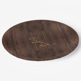 Plato De Papel Estilo rural de madera de madera oscuro rústico de