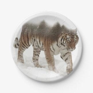 Plato De Papel Exposición-fauna tigre-Tigre-doble siberiana