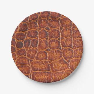 Plato De Papel Falsa impresión de la piel del cocodrilo de Brown