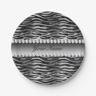 Plato De Papel Falsas rayas negras de la cebra del efecto