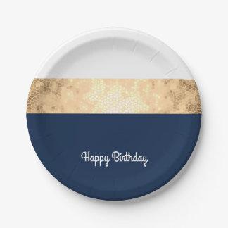 Plato De Papel falso oro elegante, azul marino, rayas blancas