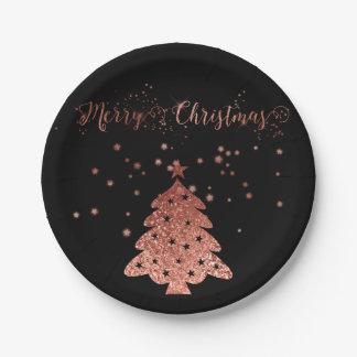 Plato De Papel Felices Navidad atractivas y rosa y negro del