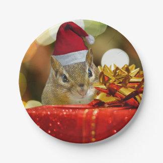 Plato De Papel Felices Navidad del Chipmunk lindo