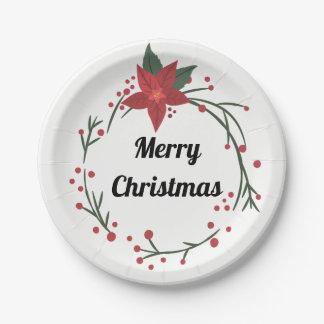 Plato De Papel Felices Navidad guirnalda y placa del acebo